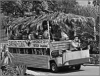 A tram takes visitors through Jungleland, during it's heyday. Click on for a larger image!